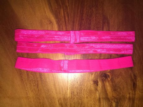 3 X 5/8 FOE ELASTIC PRE MADE HEADBANDS IN BRIGHT PINK